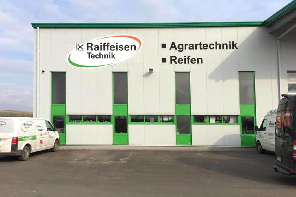 Fassadenwerbung Raiffeisen Mühlhausen