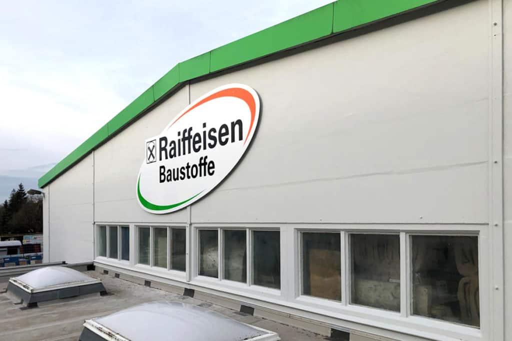 Fassadenwerbung Raiffeisen Mühlhausen am Dach