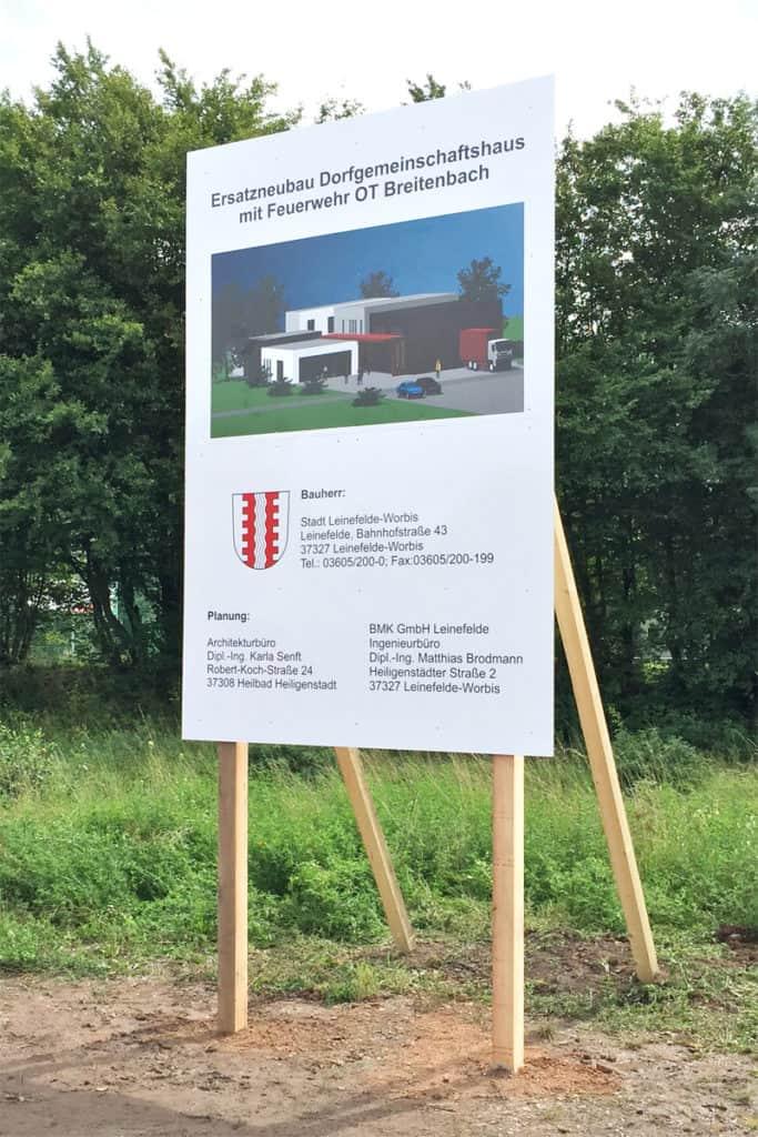 Bauschild Dorfgemeinschaftshaus Breitenbach