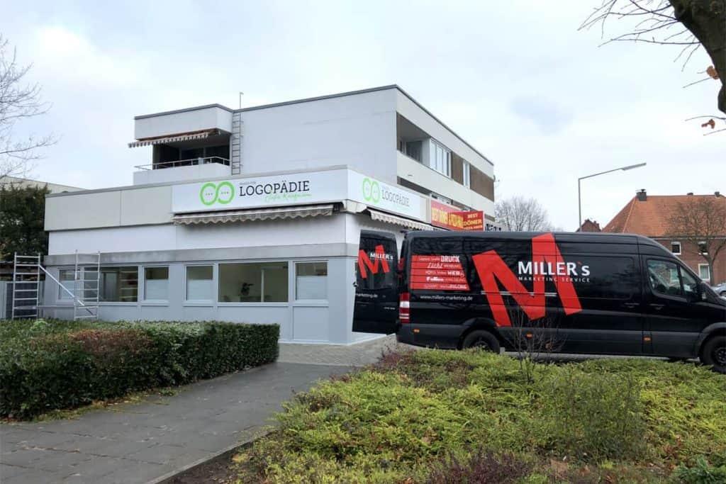 Fassadenwerbung Logopädie Kaufmann aus Reckenfeld