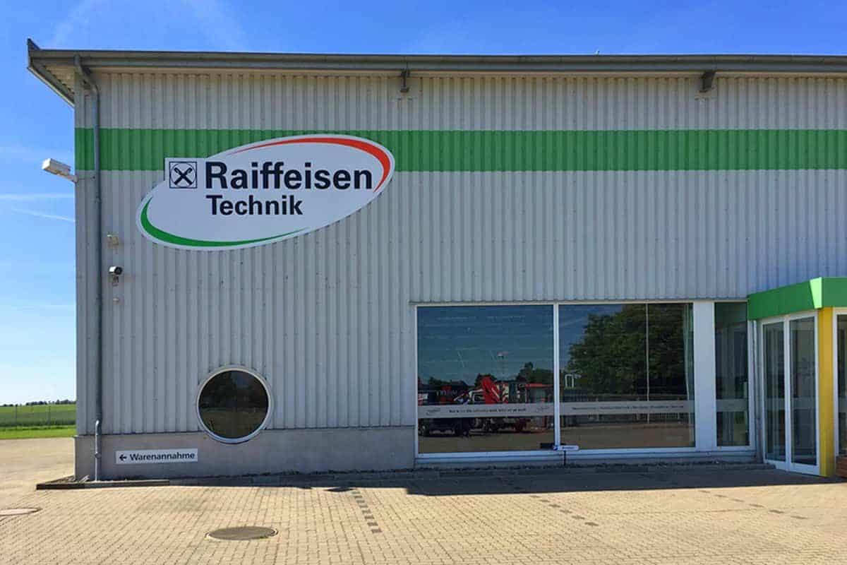 Außenwerbung Raffeisen Baustoffe Reisdorf