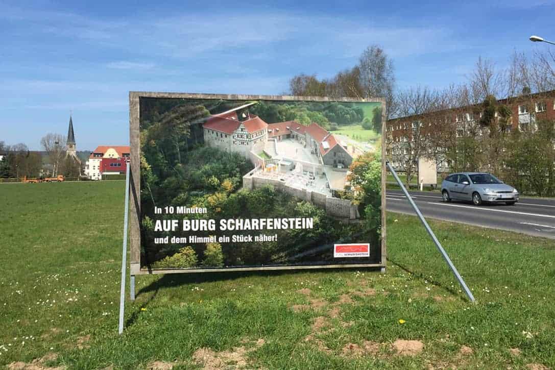 Großformatdruck, Grooßfläche, Bannerwerbung, Burg Scharfenstein
