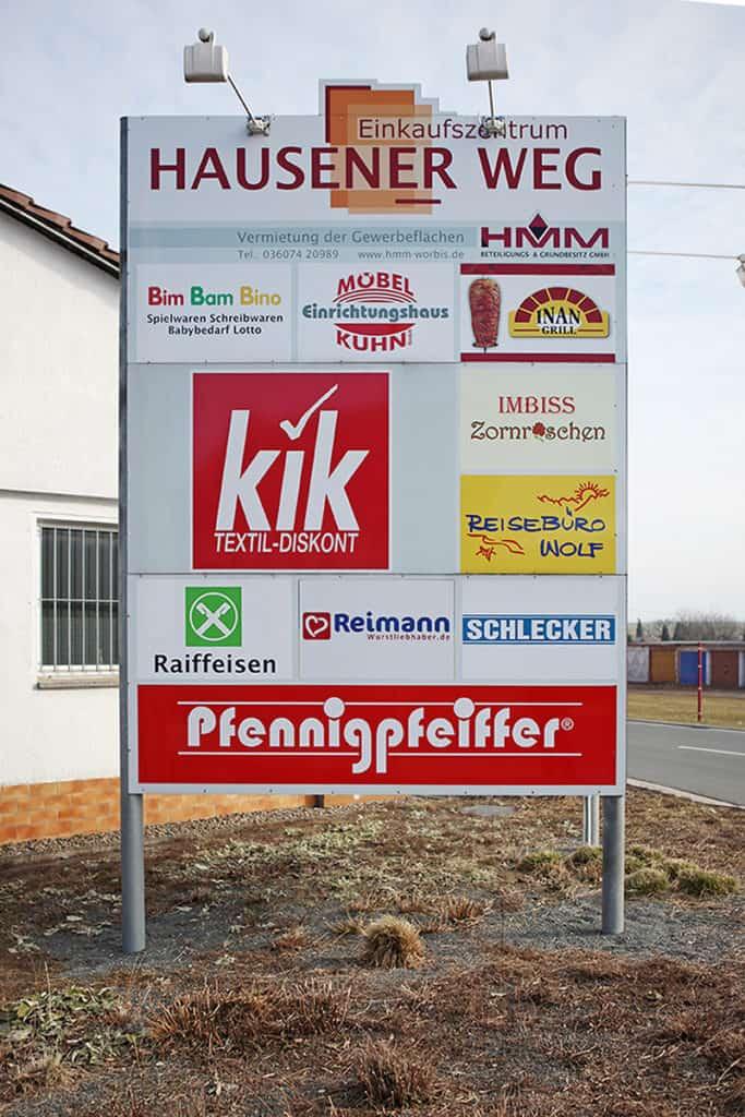 Informationsbeschilderung Einkaufszentrum Hausener Weg in Worbis