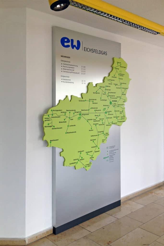 Informationsbeschilderung gefräst, für EW Eichsfeldgas