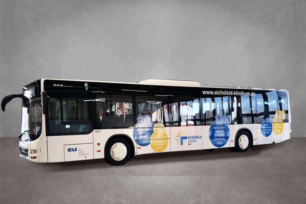 Verkehrsmittelwerbung Linienbus Eichsfeld Klinikum