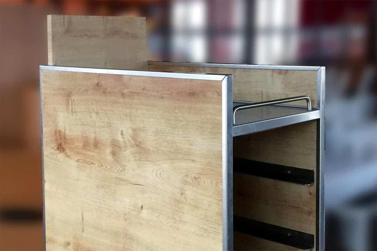 Folienverklebung Möbelbeklebung Holzoptik Geschirrwagen 01