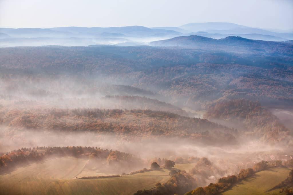 Fotografie Luftaufnahme Eichsfeld im Nebel