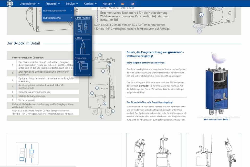 Screenshot einer Produktseite der neuen Webseite der Firma Goracon Windtechnik aus Steinfurt mit indiduellem Menü
