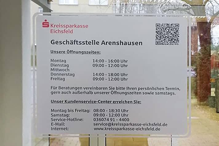 Informationsbeschriftung Kreissparkasse Eichsfeld
