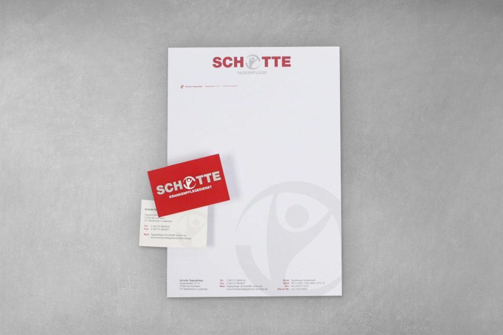 Layout Briefbogen, Visitenkarte, Firma Schotte