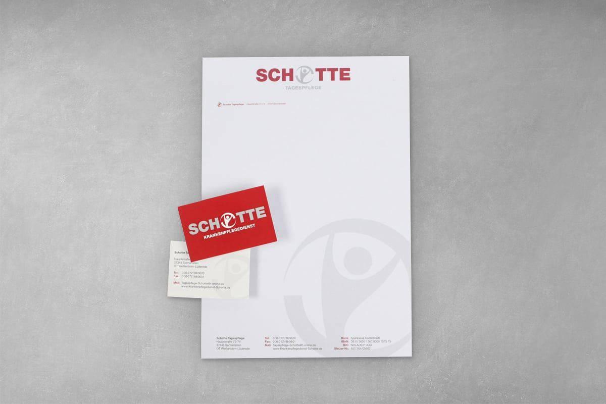 Layout Gestaltung Druck Geschäftsaustattung Geschäftspapier Briefbogen Visitenkarte Flyer Folder Schotte Tagespflege Krankenpflegedienst
