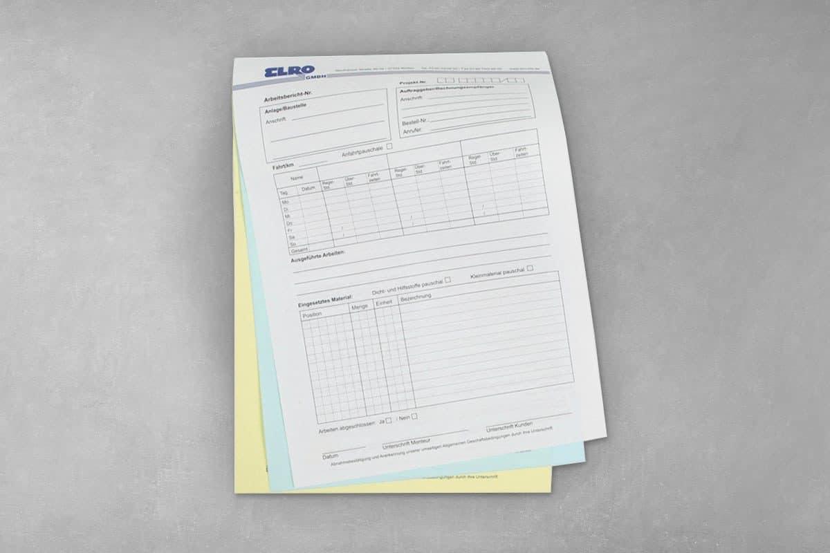 Layout Gestaltung Design Druck SD-Satz Durchschreibesatz Arbeitsbericht Elro Worbis
