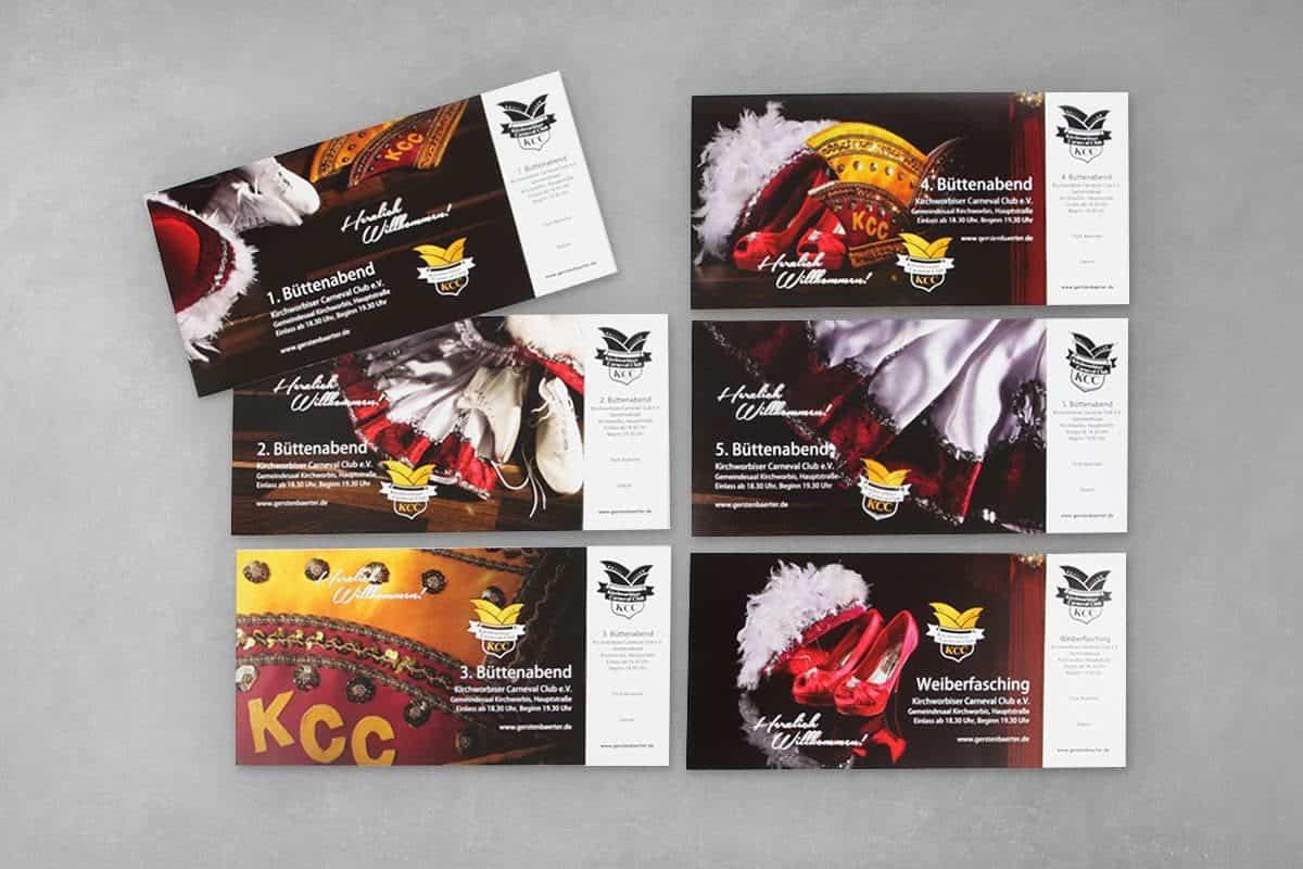 Layout Gestaltung Design Druck Eintrittskarte Event Veranstaltung Karte Perforation KCC Kirchworbis Karneval