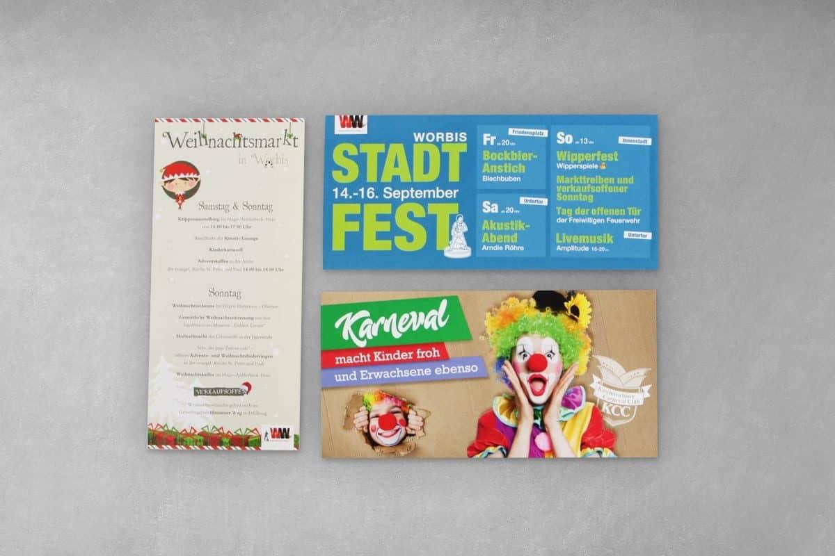 Layout Gestaltung Design Druck Flyer Veranstaltungsflyer Veranstaltung Werbung Stadt Worbis Karneval Kirchworbis