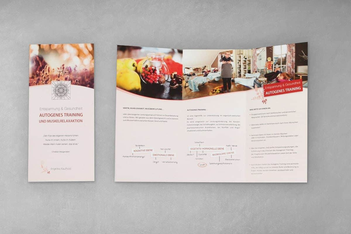 Layout Gestaltung Druck Flyer Folder Faltblatt Angelika Kaufhold Autogenes Training