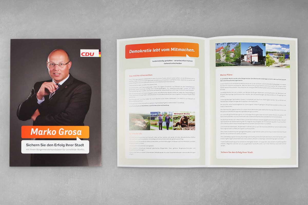 Layout Faltblatt, Flyer CDU Marko Grosa 1