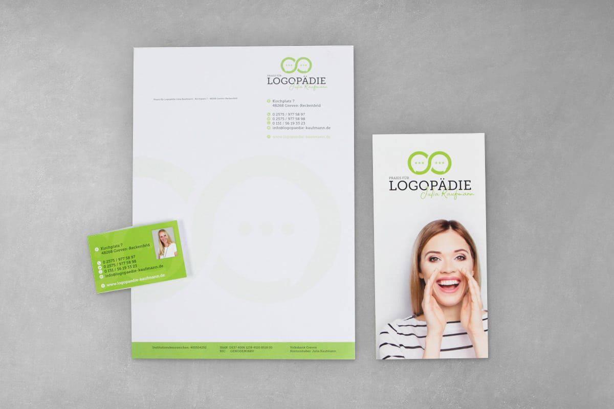 Layout Gestaltung Druck Geschäftsaustattung Geschäftspapier Briefbogen Visitenkarte Flyer Folder Logopädie Kaufmann