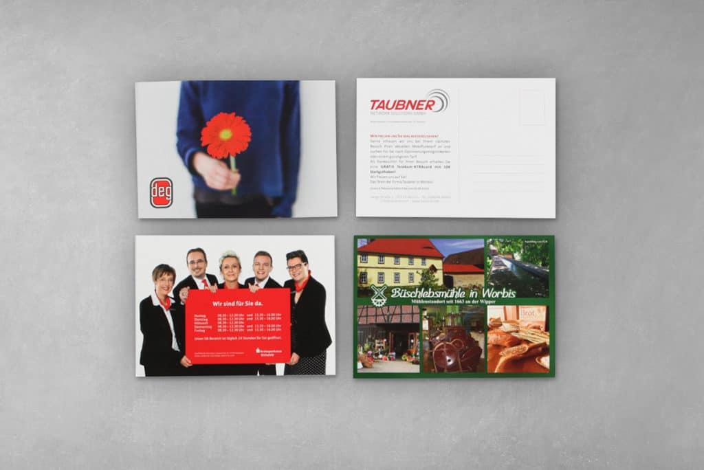 Klassische Postkarte mit individueller Gestaltung für DEG, Taubner, Sparkasse und Büschlebsmühle in Worbis