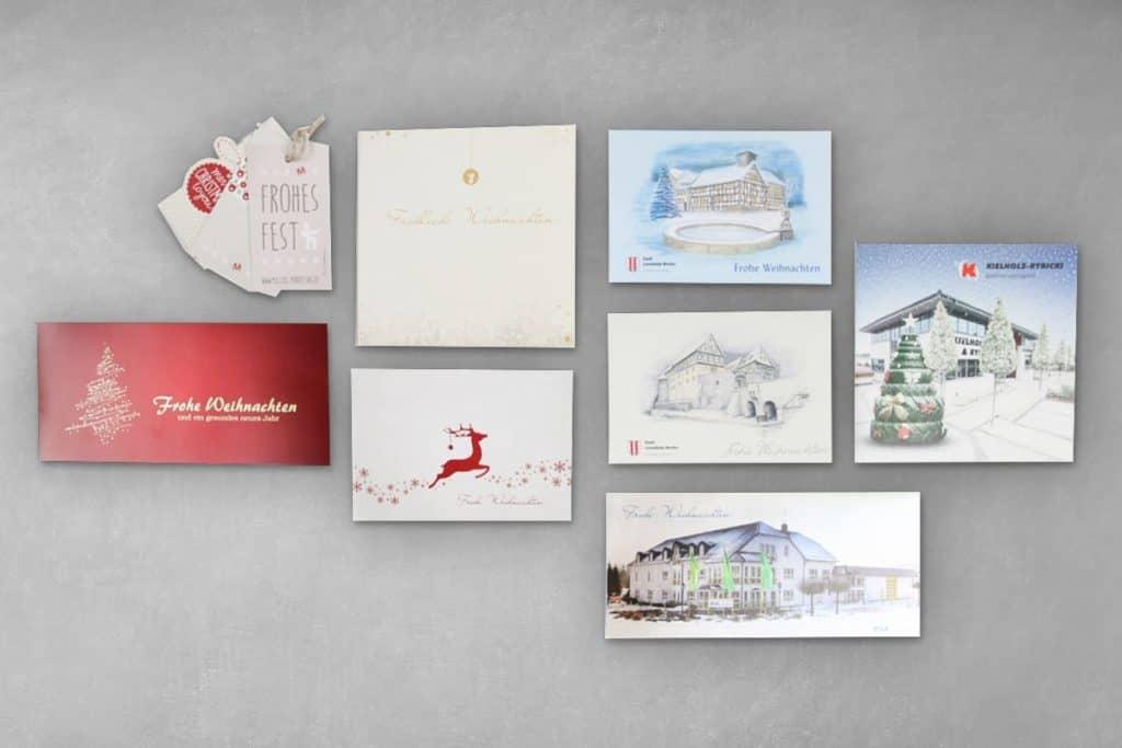 Layout Weihnachtskarten geschäftlich, privat