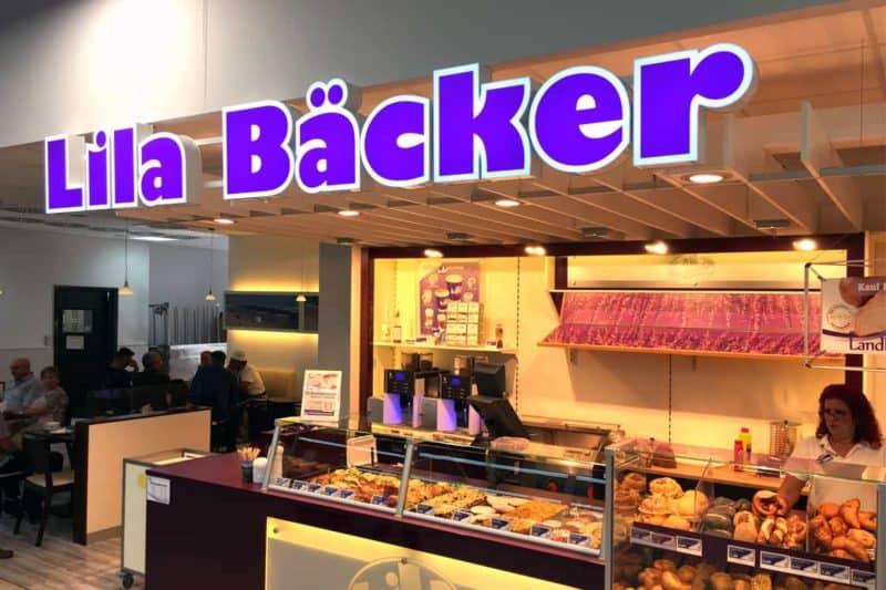 Lichtwerbung Lila Bäcker Kaufland Bruch Berlin