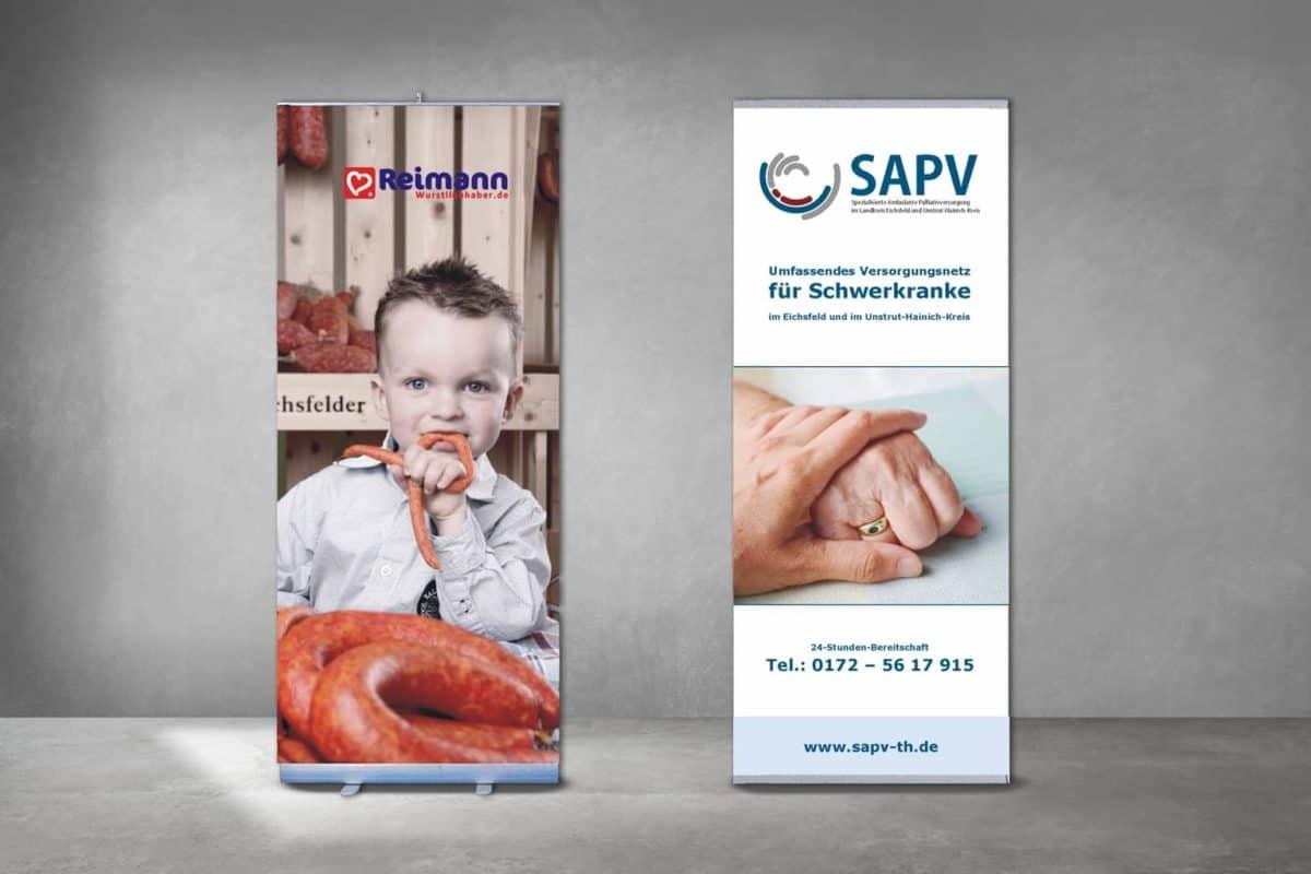 Messesystem Rollup Banner Fleischerei Reimann SAPV