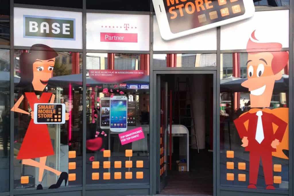 Schaufensterbeschriftung Mobile Store Jena