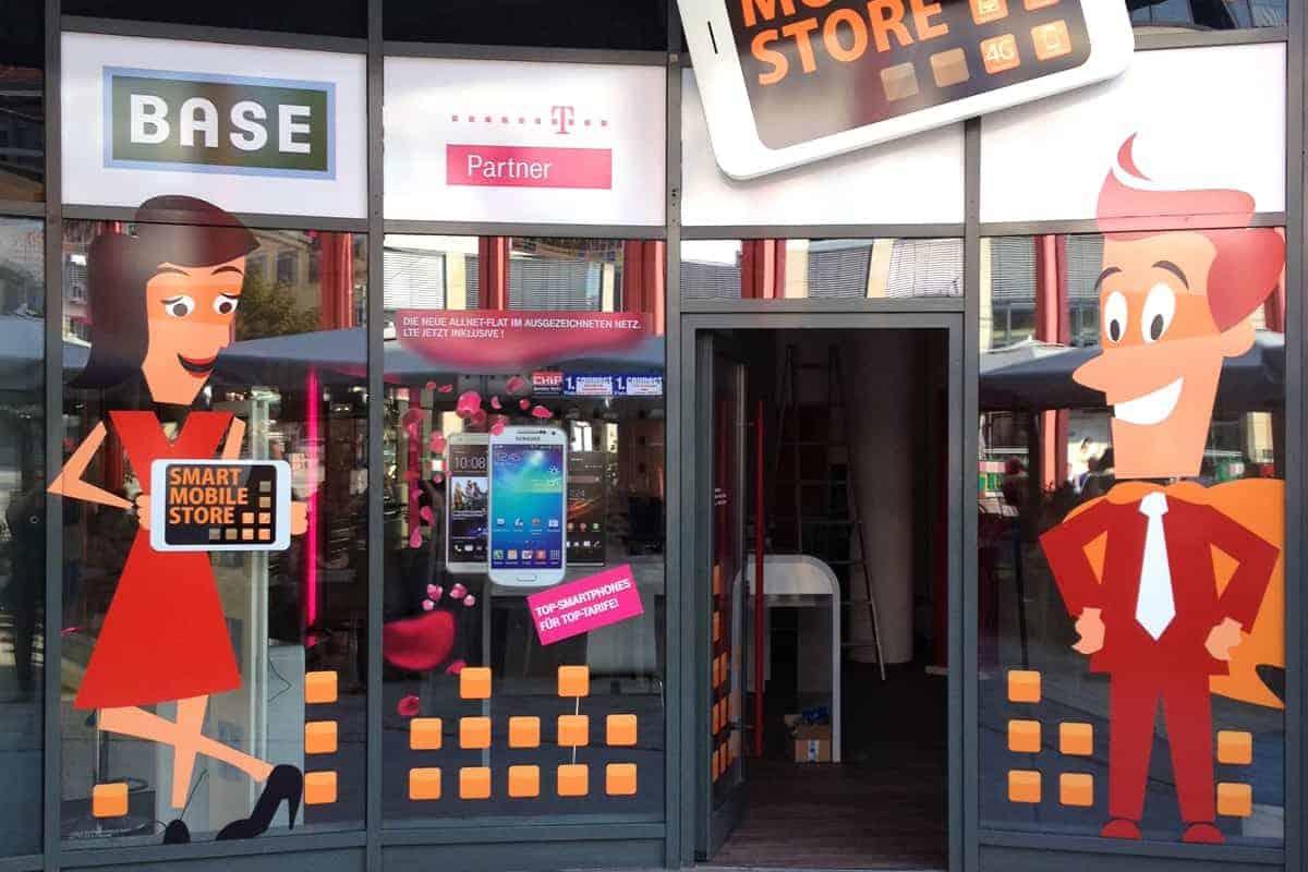 Schaufensterbeschriftung Mobile Store 1Jena