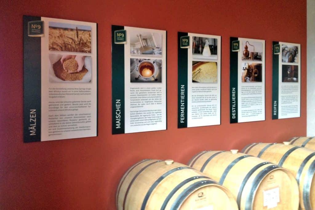 Informationsbeschilderung Whiskeyproduktion