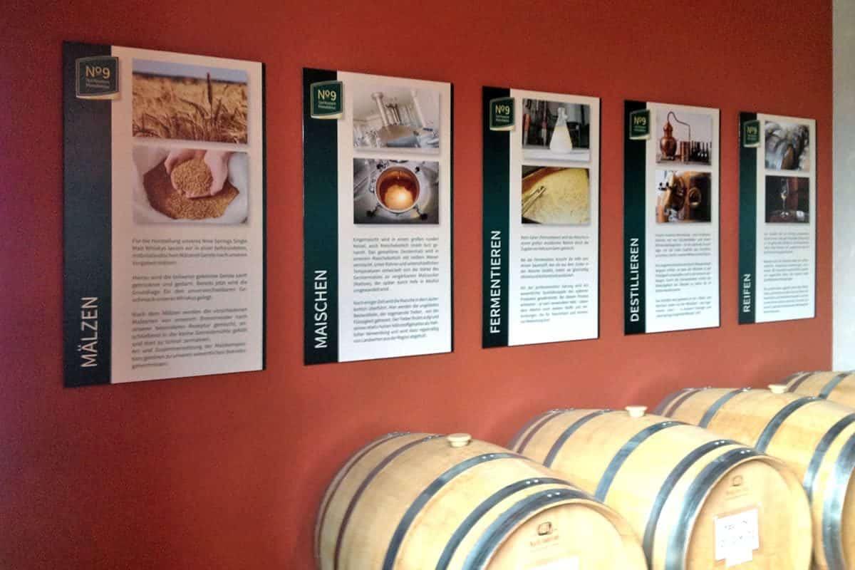 Informationsbeschilderung, Whiskeyproduktion Brauerei Neunspringe, Worbis