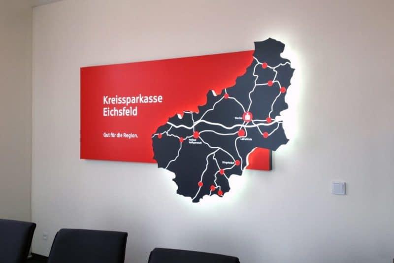Informationsbeschilderung Kreissparkasse Eichsfeld Worbis