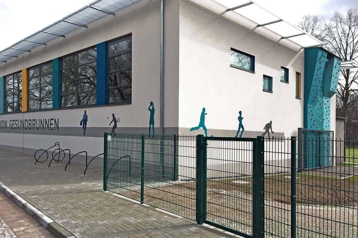 Schilder Silouetten, Aluminium, Turnhalle Heiligenstadt