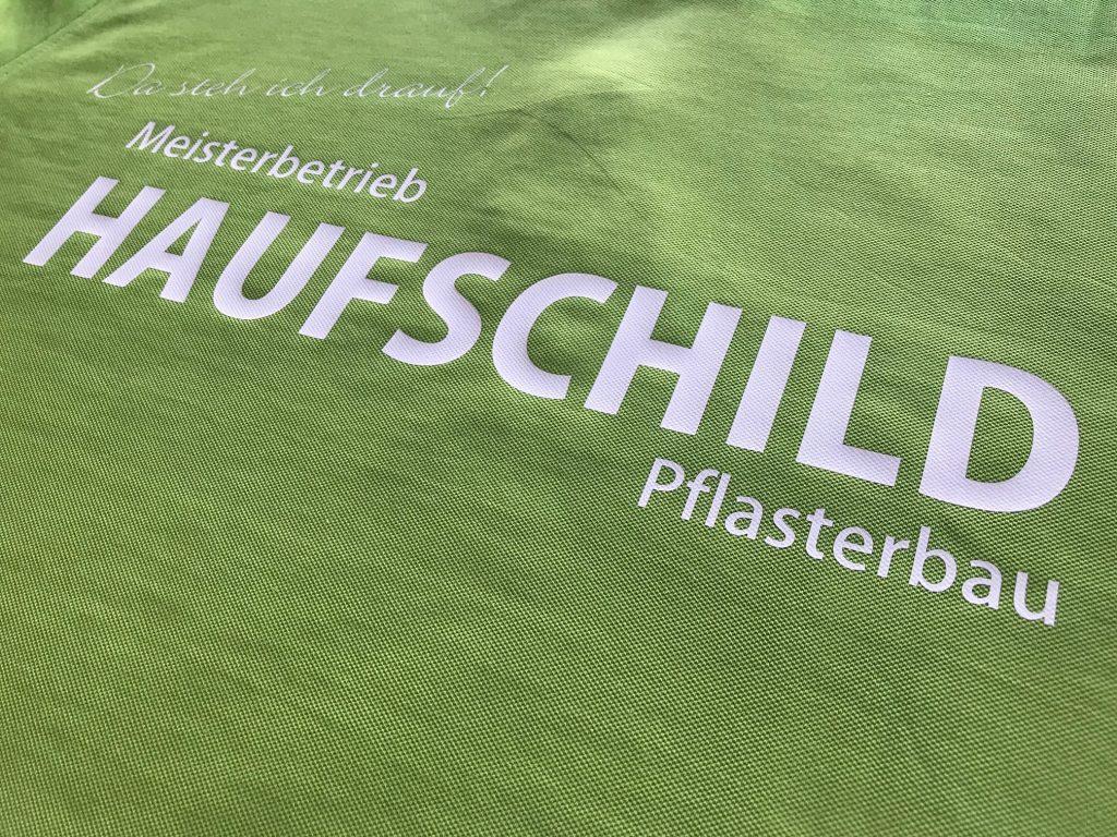 Textilbeschriftung, Haufschild, Pflasterbau