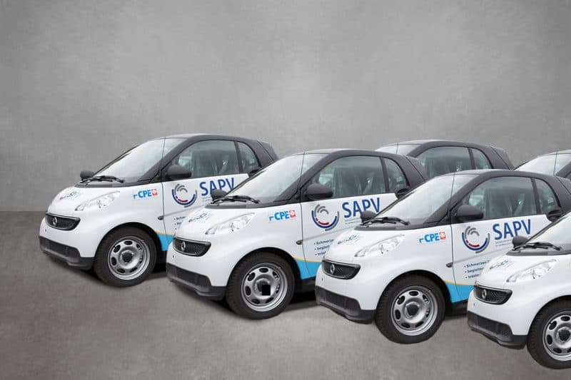 Verkehrsmittelwerbung Flottenbeklebung Smart CPE