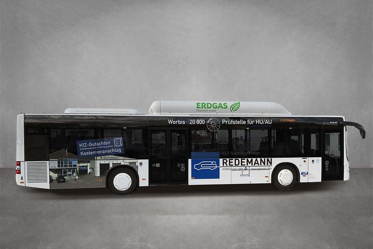 Verkehrsmittelwerbung Beschriftung Beklebung Firmenfahrzeug Fahrzeugbeschriftung Werbung Bus Redemann 02