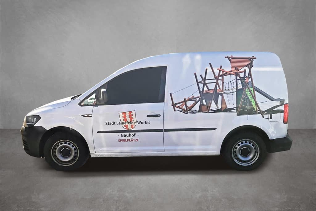 Verkehrsmittelwerbung Beschriftung Beklebung Fahrzeugbeklebung Firmenfahrzeug Bauhof Caddy Stadt Leinefelde-Worbis 02