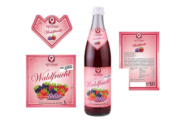 Verpackungsdesign Ettikett der Waldfrucht der Brauerei Neunspringe