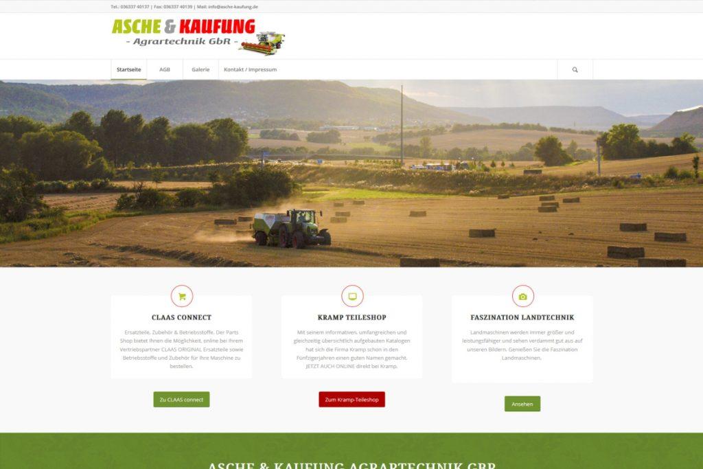 Website Asche & Kaufung Agrartechnik GmbH, Startseite