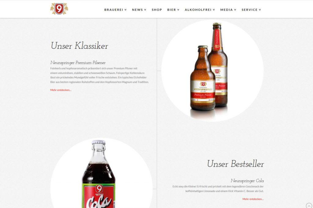 Website Brauerei Neunspringe Worbis, Übersicht