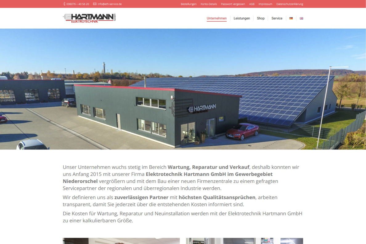 Website Hartmann Elektrotechnik, Niederorschel