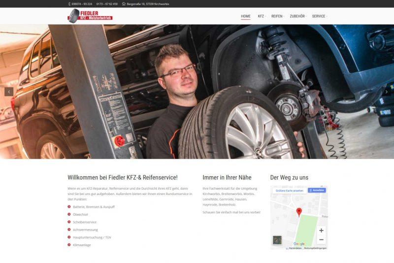 Webseite KFZ & Reifenservice Fiedler, Kirchworbis