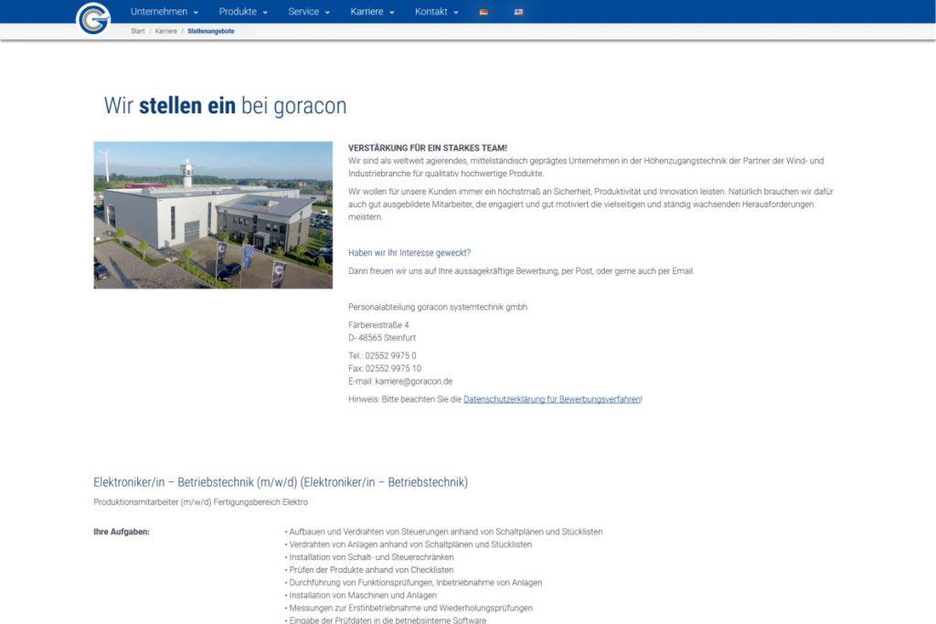 Rehresh der Webseite der Firma Goracon aus Steinfurt