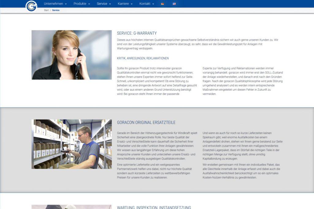 Kontaktseite der Firma Goracon Windtechnik aus Steinfurt