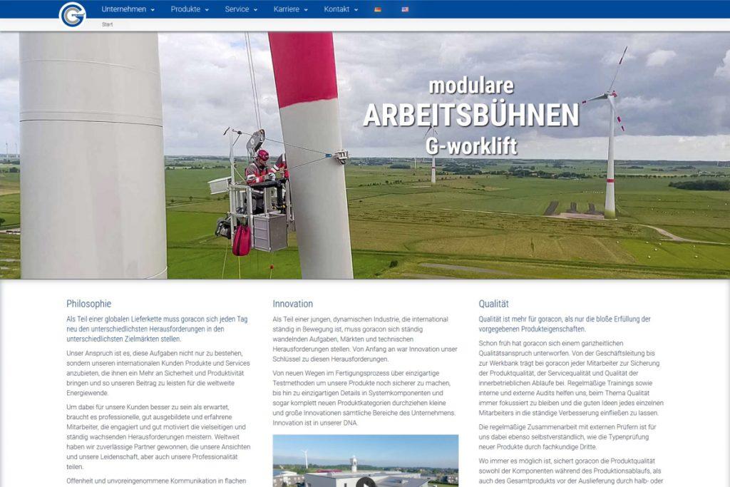 Screenshot der neuen Webseite der Firma Goracon Windtechnik aus Steinfurt