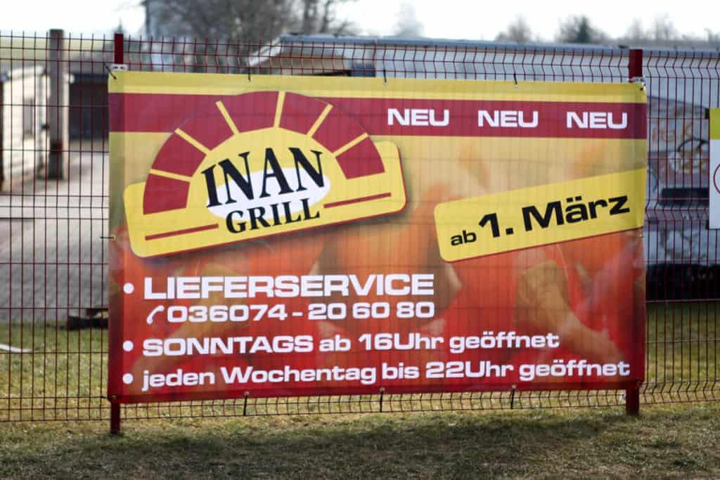 Werbeplane für Inan Grill Worbis