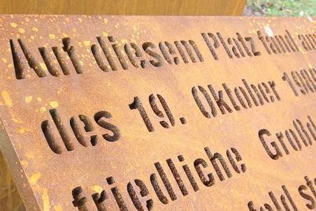 Werbepylon Denkmal Kortenstahl Leinefelde Detailansicht