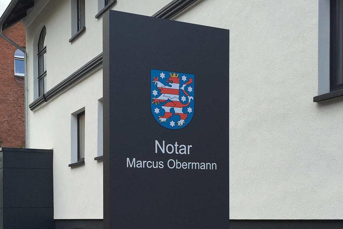 Werbepylon Außenwerbung Firmenschild Stehle Pylon Schild Notar Obermann 01 Heilbad Heiligenstadt