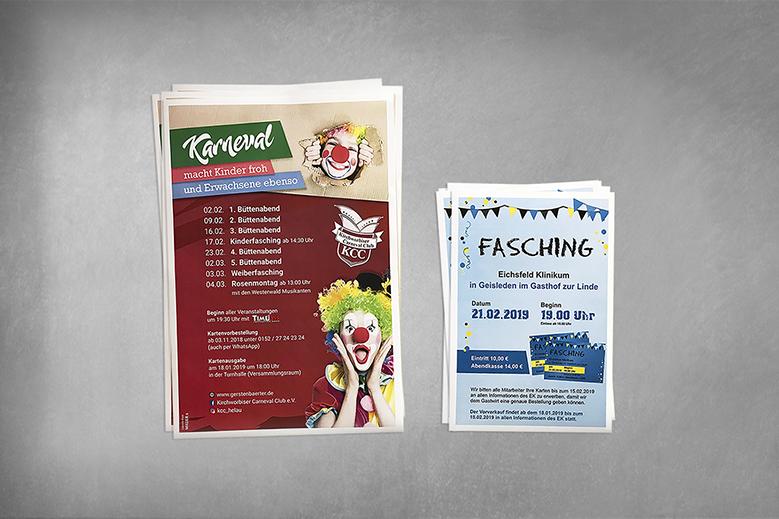 Layout, Werbeplakate, Karneval, Fasching, Veranstaltung bewerben