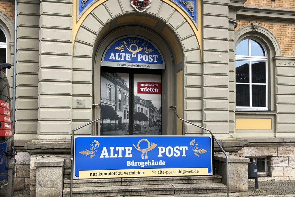 Informationsbeschilderung Alte Post Mühlhausen