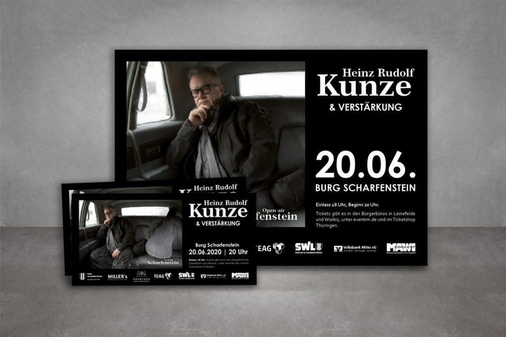 Veranstaltungswerbung Heinz Rudolf Kunze, Eintrittskarten, Flyer, Großfläche, Banner