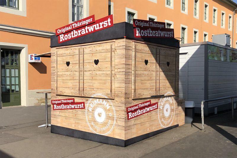 Folienverklebung Bratwurststand Fleischerei Reimann